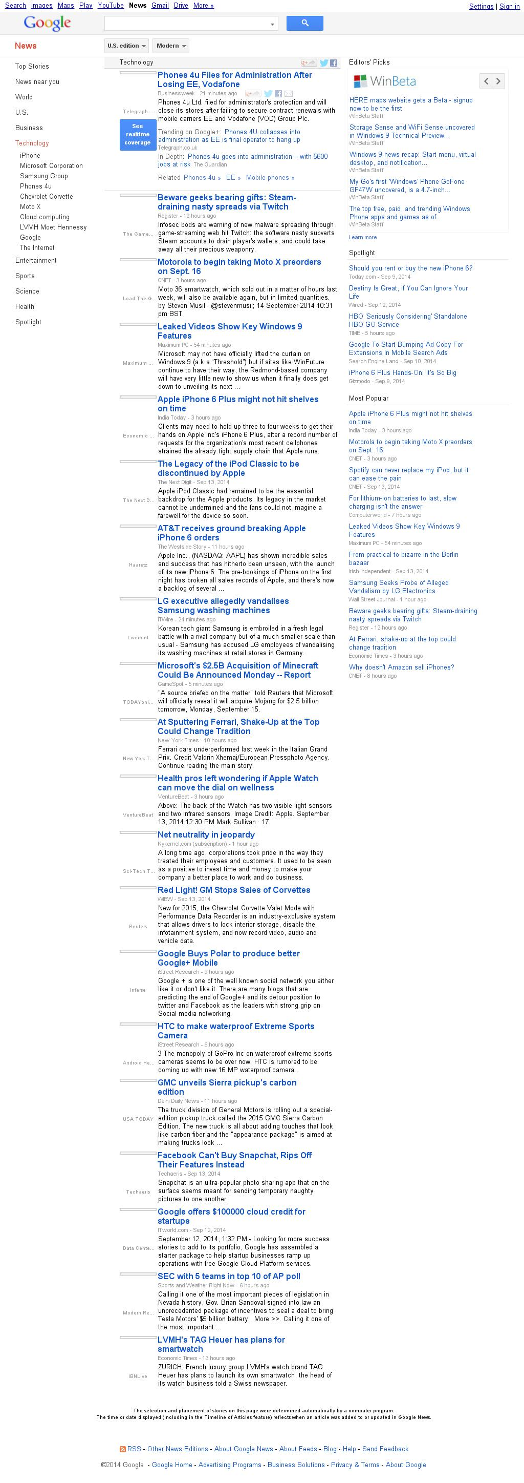 Google News: Technology at Monday Sept. 15, 2014, 1:08 a.m. UTC